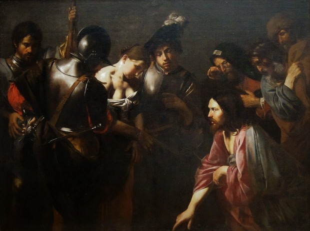 Christ_and_the_Adulteress_by_Valentin_de_Boulogne,_Getty_Center